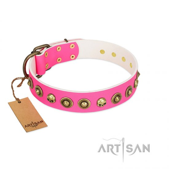 """Pawty Time"" FDT Artisan Pink Leather English Bulldog Collar with Decorative Skulls and Brooches"