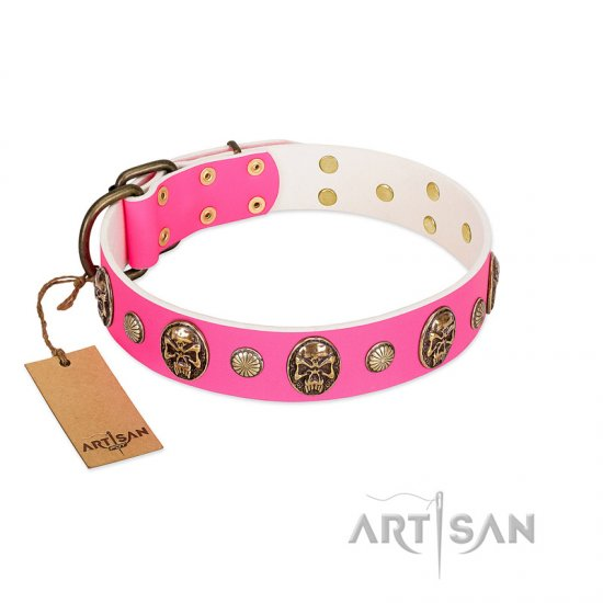 """Miss Pinky Fluff"" FDT Artisan Pink Leather English Bulldog Collar Adorned with Conchos and Medallions"