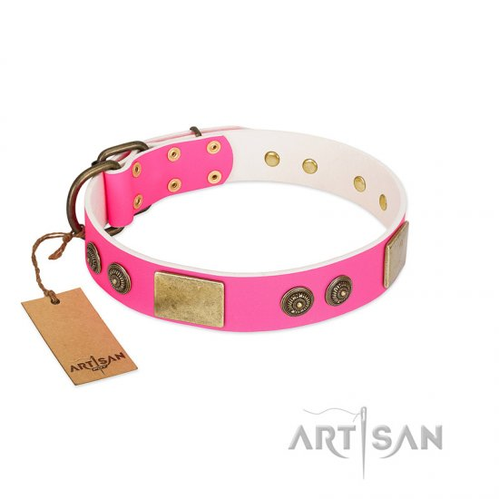 """Queen's Whim"" FDT Artisan Fancy Walking Pink Leather English Bulldog Collar Adorned with Old Bronze-like Plates and Studs"
