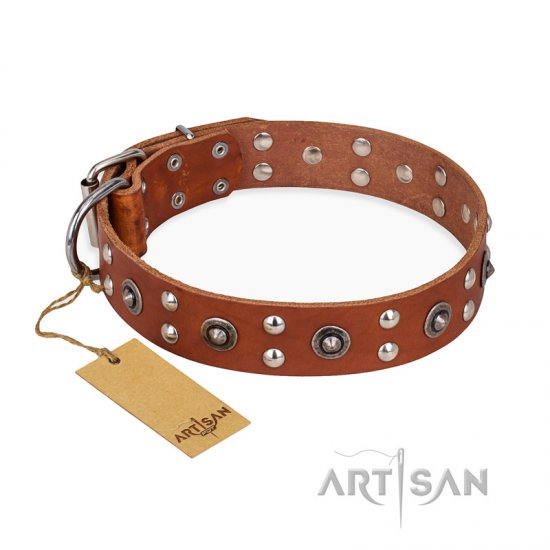 """Silver Elegance"" FDT Artisan Decorated Leather English Bulldog Collar with Old Silver-Like Plated Studs and Cones - Click Image to Close"