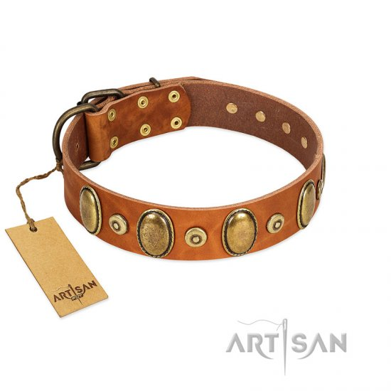 """Crystal Sand"" FDT Artisan Tan Leather English Bulldog Collar with Vintage Looking Oval and Round Studs - Click Image to Close"