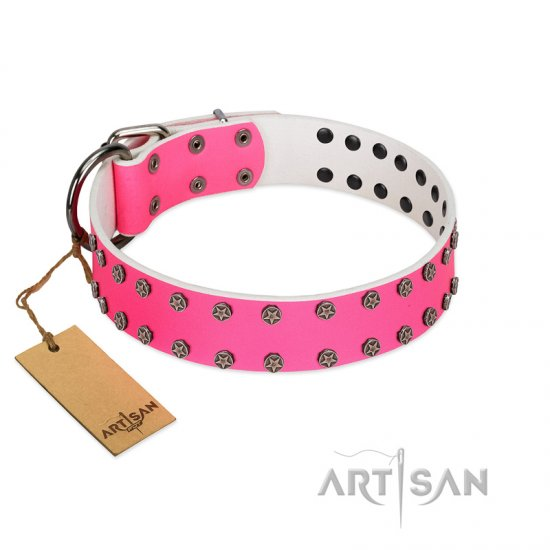 """Pink Fashion"" Designer FDT Artisan Pink Leather English Bulldog Collar with Silver-Like Studs"