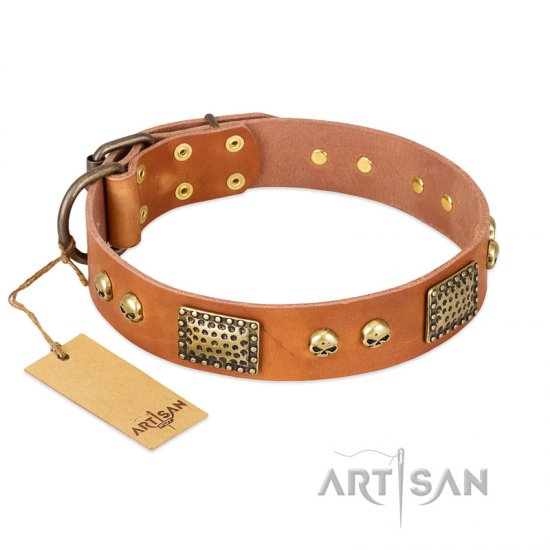 """Saucy Nature"" FDT Artisan Tan Leather English Bulldog Collar with Old Bronze Look Plates and Skulls"