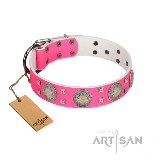 """Sunny Star"" Designer Handmade FDT Artisan Pink Leather English Bulldog Collar"