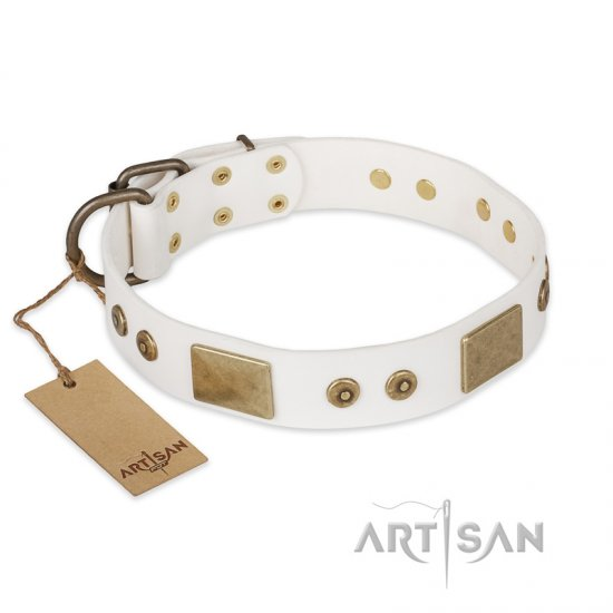 """Unforgettable Impress"" FDT Artisan Decorated Leather English Bulldog Collar with Decorations"