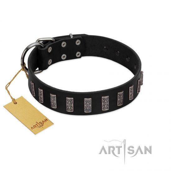"""Black Prince"" Handmade FDT Artisan Black Leather English Bulldog Collar with Silver-Like Adornments"