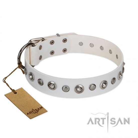"""Infinite Purity"" White FDT Artisan Leather English Bulldog Collar with Elegant Decorations"