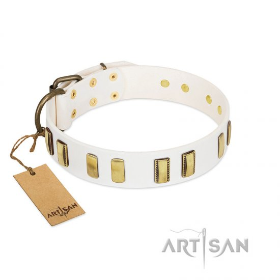 """Glorious Light"" FDT Artisan White Leather English Bulldog Collar with Old Bronze-like Plates"