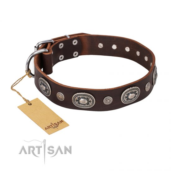 """Extra Pizzazz"" FDT Artisan Adorned Brown Leather English Bulldog Collar"