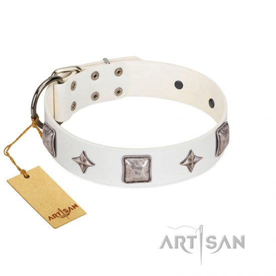 """Vanilla Ice"" FDT Artisan Handmade White Leather English Bulldog Collar with Silver-like Adornments"