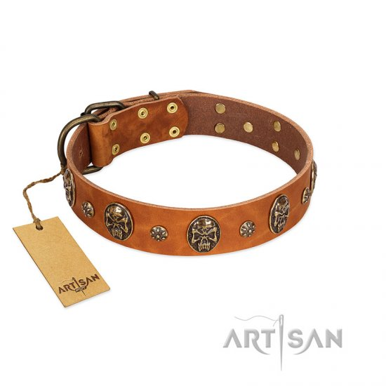 """Rockstar"" FDT Artisan Tan Leather English Bulldog Collar with Engraved Studs and Medallions"