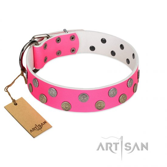 """Lucky Pink"" Designer FDT Artisan Pink Leather English Bulldog Collar with Medallions"
