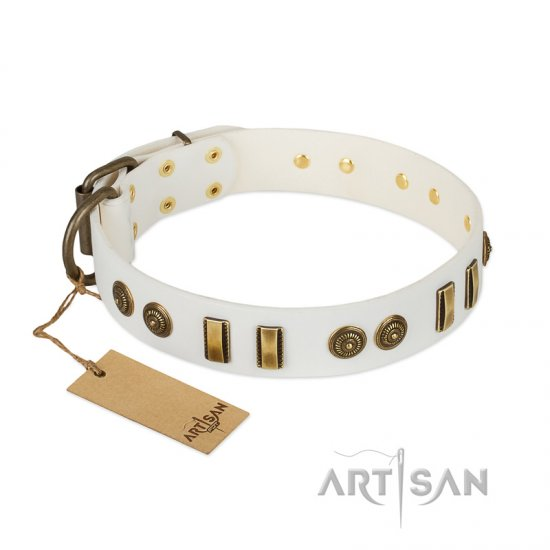 """Midsummer Snow"" FDT Artisan White Leather English Bulldog Collar with Old Bronze-like Plates and Circles"