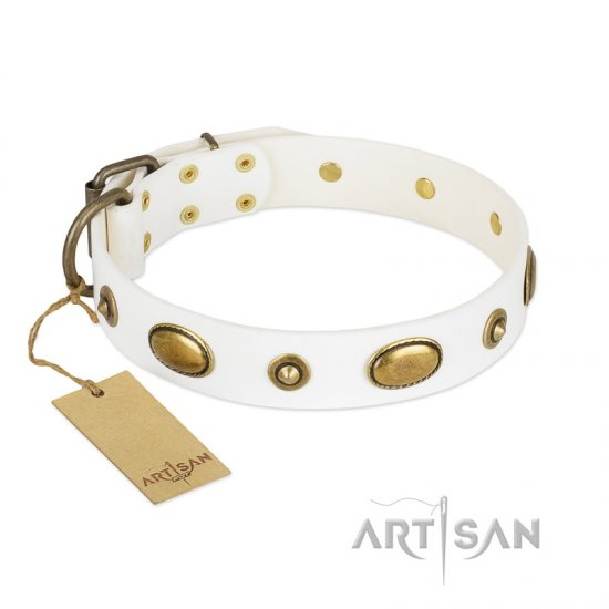 """Unmatched Whiteness"" White FDT Artisan Leather English Bulldog Collar"