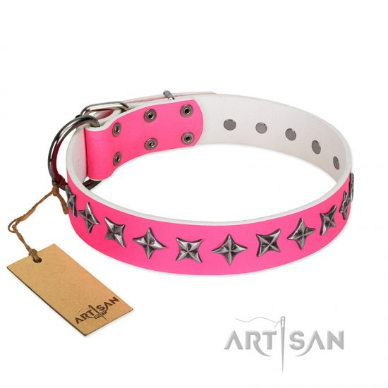 """Star Dreams"" FDT Artisan Pink Leather English Bulldog Collar with Silver-like Stars"