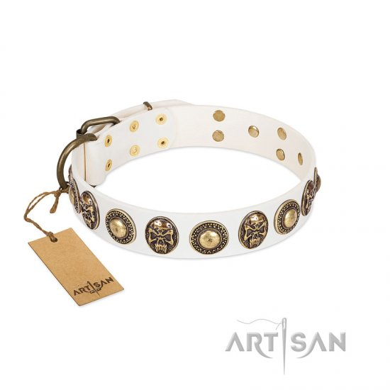 """White Delight"" FDT Artisan White Leather English Bulldog Collar with Exclusive Embelishments"