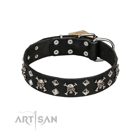 FDT Artisan 'Rock 'n' Roll Style' Fancy Leather English Bulldog Collar with Skulls, Bones and Studs 1 1/2 inch (40 mm) wide