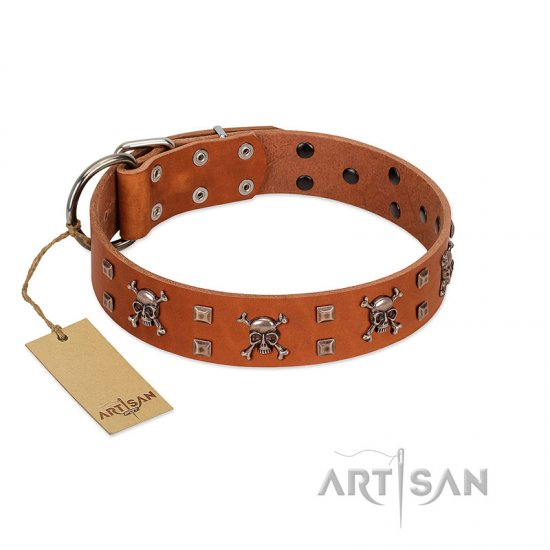 """Rebellious Nature"" FDT Artisan Tan Leather English Bulldog Collar Embellished with Crossbones and Square Studs"