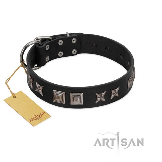 """Silver River"" Designer Handmade FDT Artisan Black Leather English Bulldog Collar"