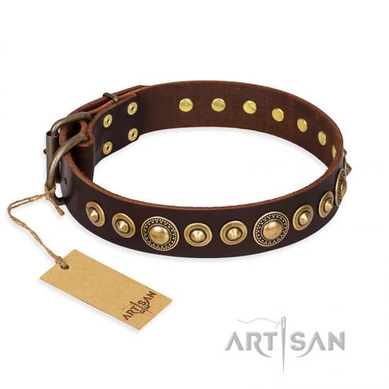 """Ancient Warrior"" FDT Artisan Fancy Leather English Bulldog Collar with Old-Bronze Plated Decorations"