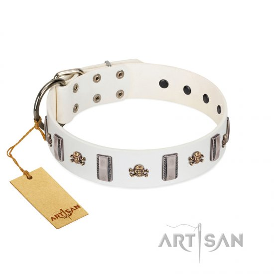 """Mysterious Voyage"" FDT Artisan White Leather English Bulldog Collar with Engraved Plates and Skulls"