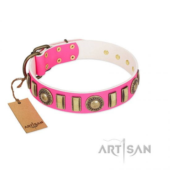 """La Femme"" FDT Artisan Pink Leather English Bulldog Collar with Ornate Brooches and Small Plates"