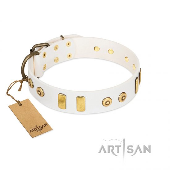 """Golden Union"" Elegant FDT Artisan White Leather English Bulldog Collar with Old Bronze-like Dotted Studs and Tiles"