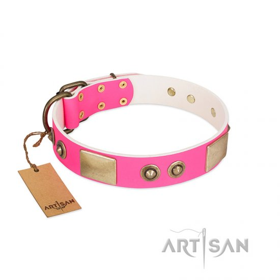 """Pink Splash"" FDT Artisan Soft Leather English Bulldog Collar with Bronze-like Plates and Medallions - Click Image to Close"