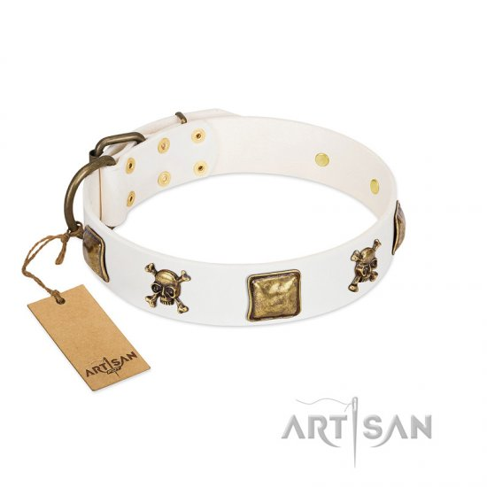 """Glo Up"" FDT Artisan White Leather English Bulldog Collar with Skulls and Crossbones Combined with Squares"