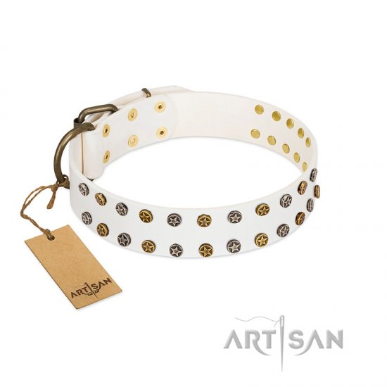 """Crystal Night"" FDT Artisan White Leather English Bulldog Collar with Two Rows of Small Studs"