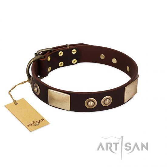"""Sense of Freedom"" FDT Artisan Brown Leather English Bulldog Collar with Old Bronze-Plated Studs and Plates"