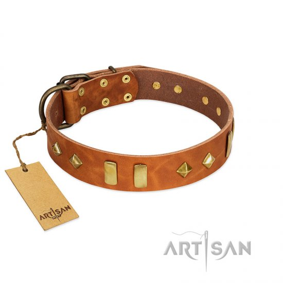"""Woofy Dawn"" FDT Artisan Tan Leather English Bulldog Collar with Plates and Rhombs"