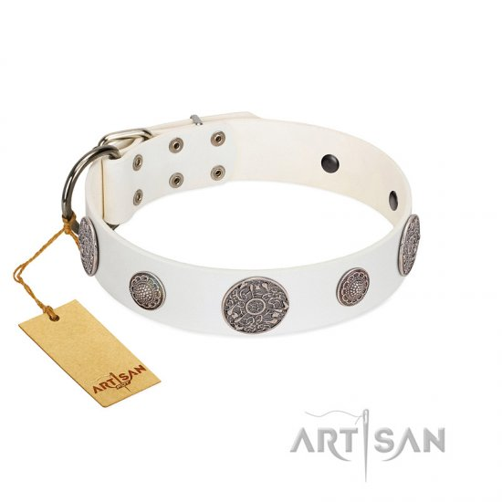 """Divine Nature"" FDT Artisan White Leather English Bulldog Collar with Chrome Plated Brooches"