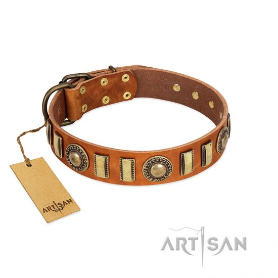 """Happy Hound"" FDT Artisan Tan Leather English Bulldog Collar with Elegant Decorations"