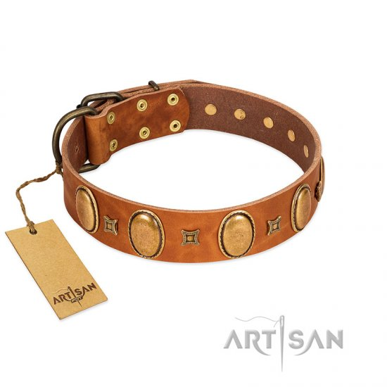 """Glossy Autumn"" Designer Handmade FDT Artisan Tan Leather English Bulldog Collar with Ovals and Studs"
