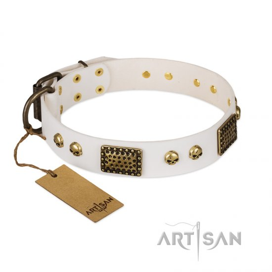 """Lost Treasures"" FDT Artisan White Leather English Bulldog Collar with Old Bronze Look Plates and Skulls"