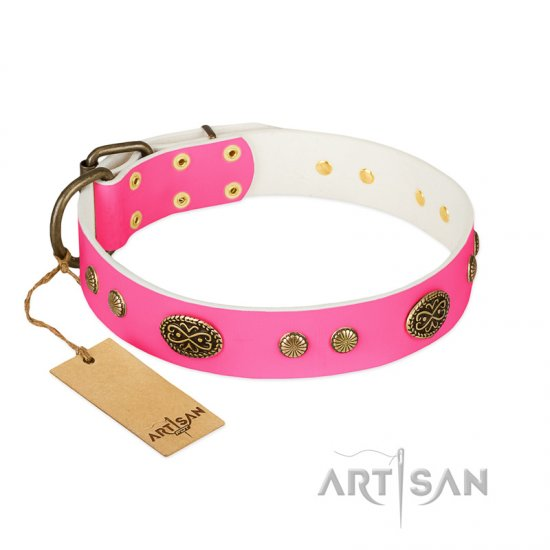 """Twinkle Pink"" FDT Artisan Pink Leather English Bulldog Collar with Old Bronze Look Plates and Circles"