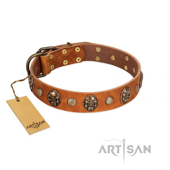 """Call of Feat"" FDT Artisan Tan Leather English Bulldog Collar with Old Bronze-like Studs and Oval Brooches"