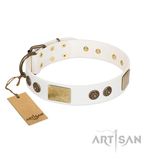 """Sweet Melody"" FDT Artisan White Leather English Bulldog Collar with Plates and Ornamented Studs"