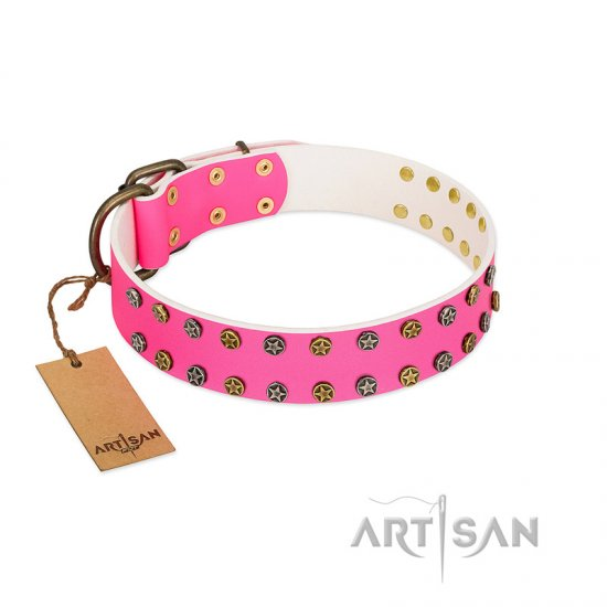 """Blushing Star"" FDT Artisan Pink Leather English Bulldog Collar with Two Rows of Small Studs - Click Image to Close"