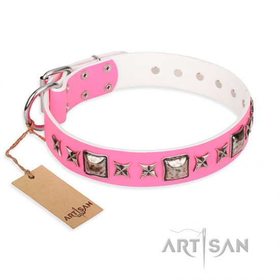 """Lady in Pink"" FDT Artisan Extravagant Leather English Bulldog Collar with Studs"
