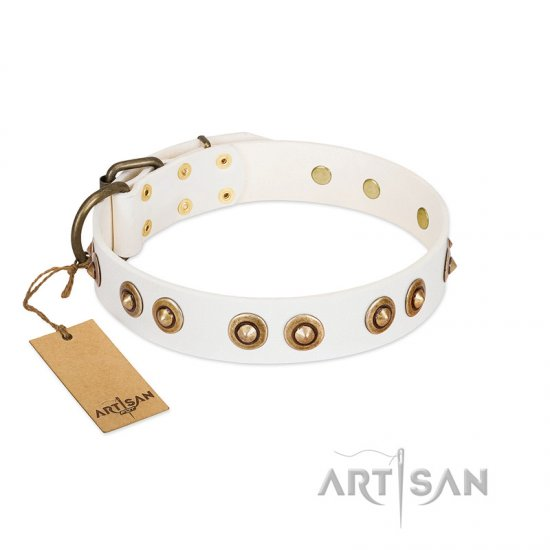 """Moonlit Stroll"" FDT Artisan White Leather English Bulldog Collar with Antique Decorations"