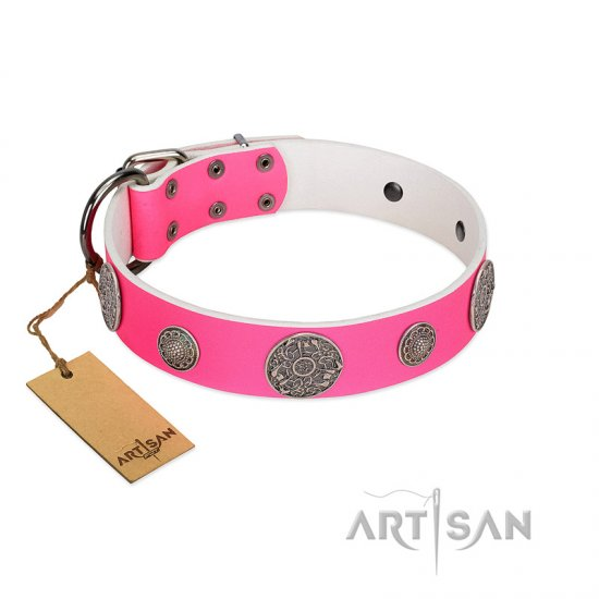 """Pink Elegance"" Designer Handmade FDT Artisan Pink Leather English Bulldog Collar"