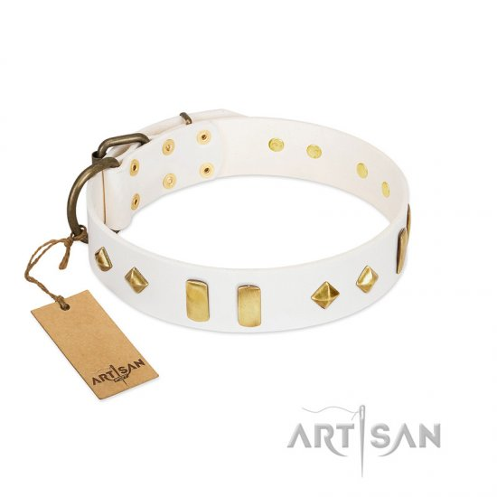 """Hella Cool"" FDT Artisan White Leather English Bulldog Collar Adorned with Plates and Rhombs"
