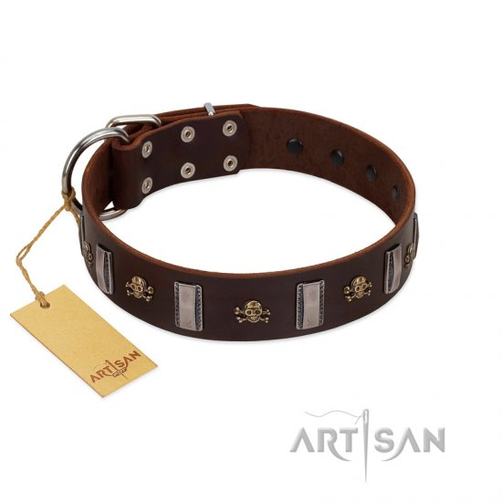 """War Chief"" FDT Artisan Genuine Brown Leather English Bulldog Collar with Skulls and Plates"