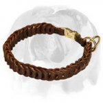 English Bulldog Braided Genuine Leather Dog Collar with Quick Release Buckle