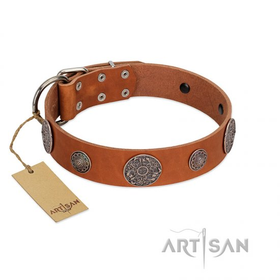 """Foxy Nature"" FDT Artisan Tan Leather English Bulldog Collar with Chrome Plated Brooches - Click Image to Close"