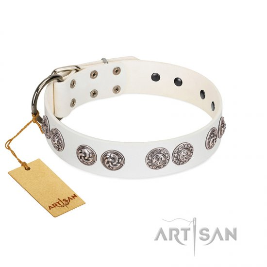 """Eye Candy"" Appealing FDT Artisan White Leather English Bulldog Collar with Chrome Plated Medallions"