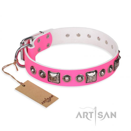 """Pink Dream"" FDT Artisan Leather English Bulldog Collar with Silvery Decorations"