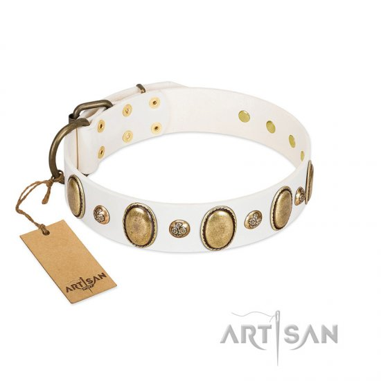 """Milky Lagoon"" FDT Artisan White Leather English Bulldog Collar with Vintage Looking Oval and Round Adornments"